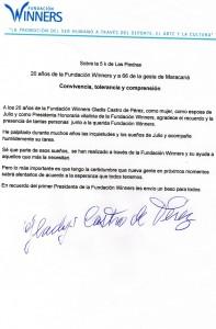 Carta Gladys Castro 5K